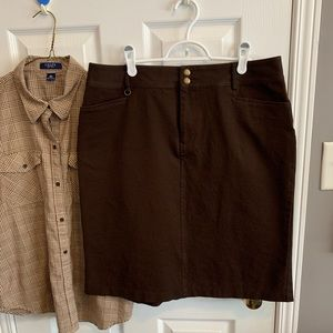 Chaps Skirt Brown Medium Length with Ruffle detail